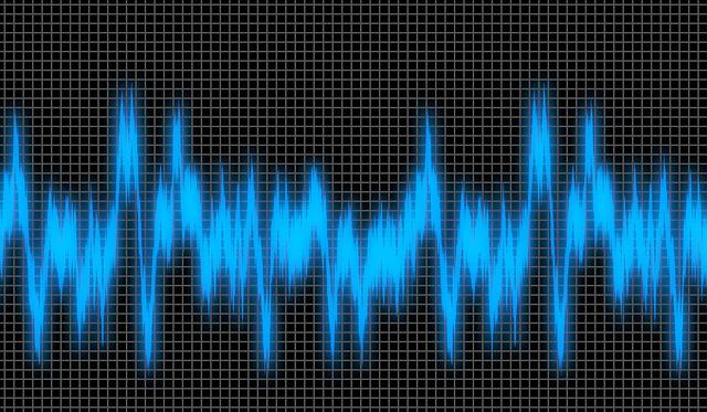 Onda de sonido azul sobre fondo oscuro para representar la voz y por tanto acento de un personaje