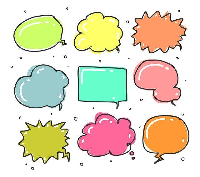 Nueve globos de diálogo diferentes que intentan indicar la variedad al diseñar la forma de hablar de un personaje
