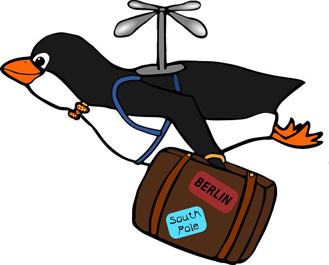 Pingüino volando con maleta que muestra anteriores viajes para ilustrar pelicula con animales que hablan