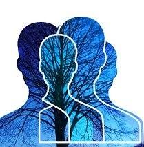 Siluetas azules de persona sobre ramas de árbol para simbolizar la diversidad de apariencia externa de un personaje