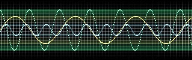Representación en varios colores de tres tipos de ondas de sonido para simbolizar los trastornos del lenguaje en películas y series