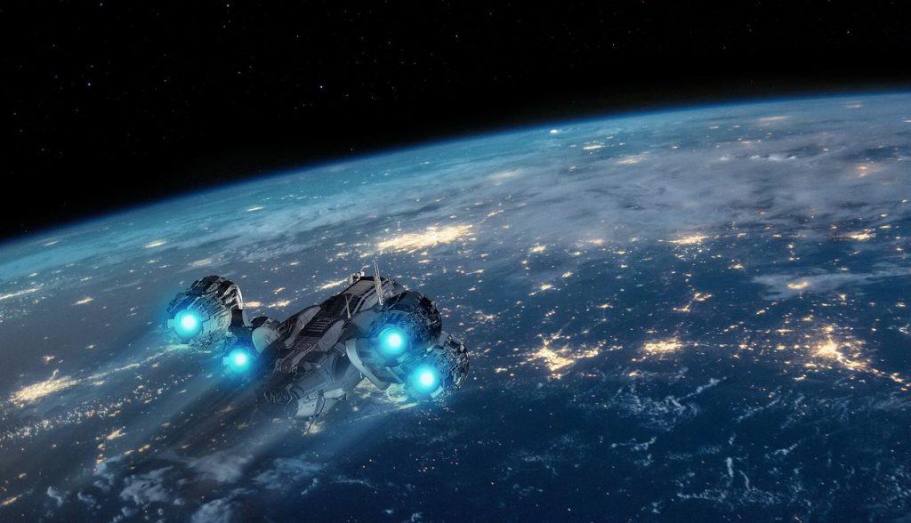 Nave se acerca a planeta en el que hay zonas iluminadas